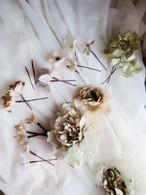 芍薬と紫陽花のアンティーク染めヘッドピース