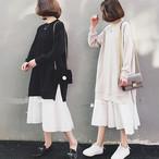 【dress】重ね着風プラスサイズファッション感満々パーカーワンピース 23874355