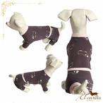 3。犬 服 韓国 つなぎ ブラウン 羊柄 シンプル 袖あり 秋 冬物