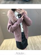 袖とポケットがかわいい☆ファーフード付き厚手 ニットジャケット
