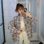 【送料無料】 ペールトーン♡ オーバーサイズ チェック シャツ ビッグシルエット ドルマンスリーブ ゆるカジ