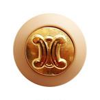 【VINTAGE  CELINE BUTTON】ベージュフレーム ゴールドロゴボタン  1.8cm L-19012