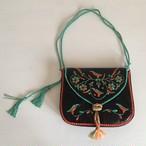 鳥の刺繍のバッグ マチあり モロッコ ポシェット クラッチやショルダーにも