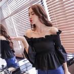 plated sleeve off shoulder blouse 1647