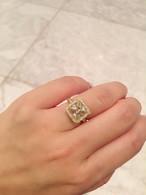 イエローモアサナイト ダイヤモンド 18k フルエタニティ リング