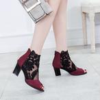 【shoes】女性らしいレース切り替えファスナーオープントゥサンダル全2色