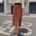 【ボトムス】スリットファッション無地スカート24446363