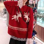 【tops】ゆったり雰囲気クリスマス雪花セーター25107857