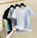 nostalgic マルチカラー 異素材 デザインTシャツ c0202