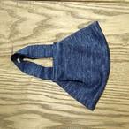 【2枚組】マスク麻ニット一重仕立て ブルー杢