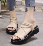 【shoes】サンダルシンプル履き心地よい掛け金厚底カジュアル全3色