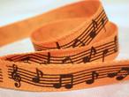 リボン 楽譜 オレンジ (幅9.5mm) 2m