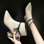【shoes】カッコイイリボン飾りチャンキーヒール裏起毛PUブーツ 23854101