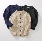 【即納】110〜150cm ケーブルニット カーディガン ベーシックセーター