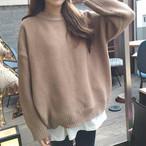 【送料無料】 カラー豊富な6color♡ クルーネック カジュアル ニット プルオーバー シンプル リブ袖 セーター