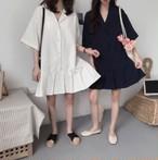 【送料無料】 トレンドのオーバーサイズ♡ シャツワンピ ミニ丈 ワンピース ストライプ プリーツスカート ゆったりサイズ