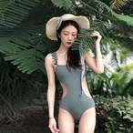 【水着】レトロオールインワン簡約ファッション無地水着ビキニ
