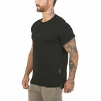 【ASRV】CottonPlus™ メッシュバックロールスリーブTシャツ - Black