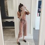 2piece solid color shirts + striped pants 1614