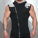 BODY ENGINERS YUREI Sleeveless vest – BLACK & LIGHT GREY ACCENTS