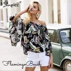 即納S【FlamingoBeach】botanical tops