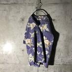 [used] flower designed thin purple shirt