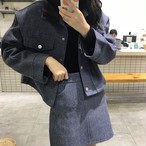 【送料無料】 人気のセットアップ♡ ウールジャケット ハイウエスト ミニスカート 2点セット