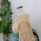 正絹紬 淡朽葉(うすくちば)に横縞の小紋 単衣