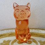 チェコスロバキア ボヘミアガラスの置き物 ねこ / ピンク