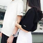 Tシャツ ペアルック 半袖 ラウンドネック ロゴ シンプル カットソー カップル レディース メンズ 男女兼用 トップス 大きいサイズ 白 黒 ホワイト ブラック