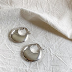 vintage silver puffy round hoop