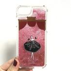 (iPhone)プリマ黒 グリッターケース(ピンク)