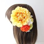 黄色のダリア、マム、あじさいの髪飾り