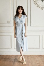 Denim Wrap-effect Midi Dress
