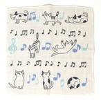 猫ハンカチ(タオルハンカチ音符ねこ)