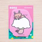 【ロク】型抜き付箋「キノコ」(ピンク)