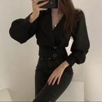 2ボタンブラウス ブラウス 韓国ファッション