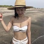 Bikini♡ホワイトボトムレースアップバンドゥビキニ