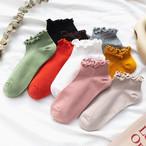 【小物】ファッション不規則ギャザー飾り切り替え無地ソックス34715400