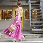 リネンマキシスカート フューシャピンク