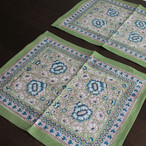Anokhi ブロックプリント テーブルマット グリーンフラワー