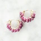 送料無料14kgf*Ruby pavé pierced earring / earring