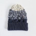【再販】編み込みグラデーションニット帽(グレー×ホワイト)