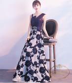 パーティードレス ロングドレス レディース 花柄 シンプル 大人可愛い ノースリーブ 大き目サイズ 着痩せ ウェストライン きれいめ スタンドカラー シンプル 安い プチプラ ANLD3