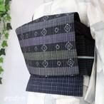長井紬 絣九寸帯 濃紺に縞