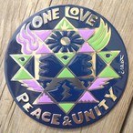 One Love Peace & Unity (Metal Sticker)