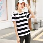 【tops】フード付き簡約スタイルストライプ柄肌触り良いTシャツ 22559648