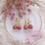 Juicy Red  Rose & Leaf Pearl _ Pierced earrings