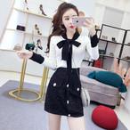 【set】ファッションリボン付きセーター+スカートセットアップ25386605