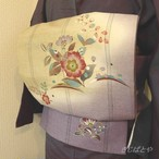 【F様ご予約品】正絹紬 ベージュとブルーグレーの洒落袋